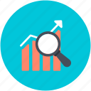 growth chart, infographics, progress graph, searching chart, searching graph icon