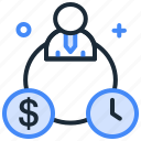 budget, delivery, investment, meeting, plan, time icon