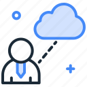 cloud storage, communication, data transfer, employee data, information icon
