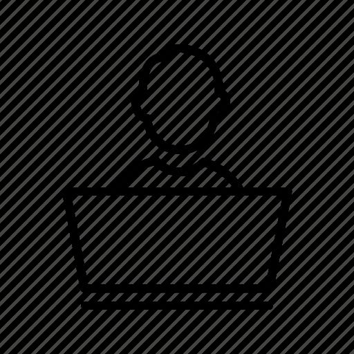 laptop, person, user icon