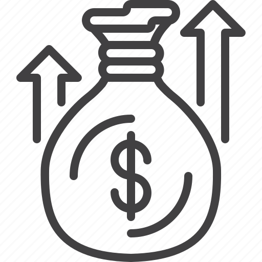 Arrow, bag, business, growth, money, sack, up icon - Download on Iconfinder