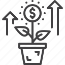 business, dollar, flower, growing, money icon