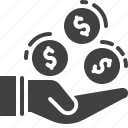 business, coins, fee, hand, money icon