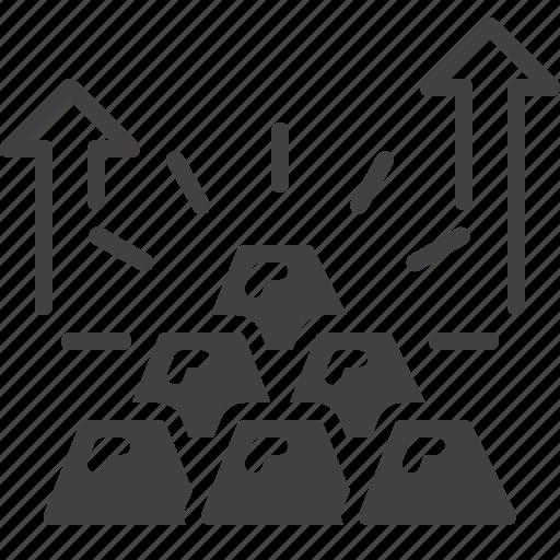 arrow, bars, gold, pyramid, savings, up icon