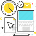 clock, computer, document, gear, mail, office space, pen icon