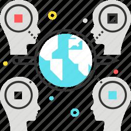 connect, face, globe, idea, network, share, world icon