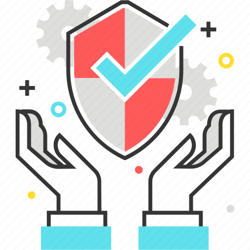 check mark, hands, protect, security, shield icon