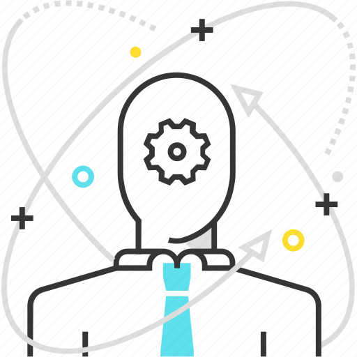 arrow, atom, development, employee, self, skills icon