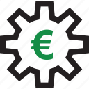 euro, gear, sign icon