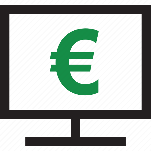 computer, euro, online, sign icon