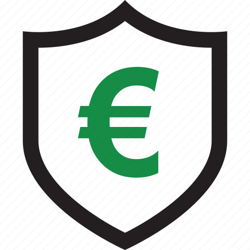 euro, money, online, shield icon