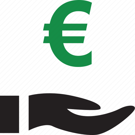euro, hand, online, sign icon