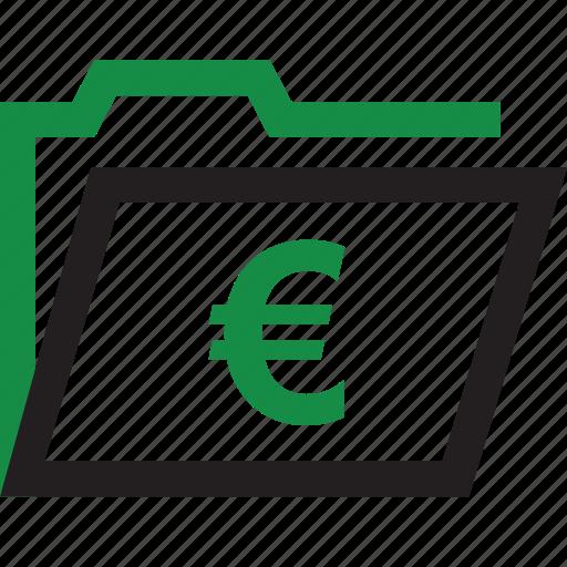 euro, folder, open, sign icon