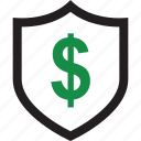 dollar, shield, sign icon