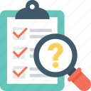 checklist, faq, magnifier, question mark, questionnaire icon