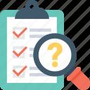 checklist, faq, magnifier, question mark, questionnaire