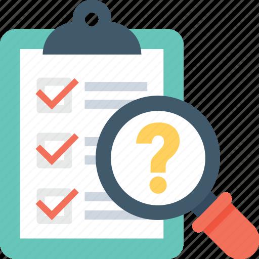 checklist, faq, magnifier, question mark, questionnaire icon