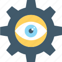 cog, eye, monitoring, observation, vision icon
