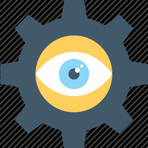 cog, eye, monitoring, observation, vision icon