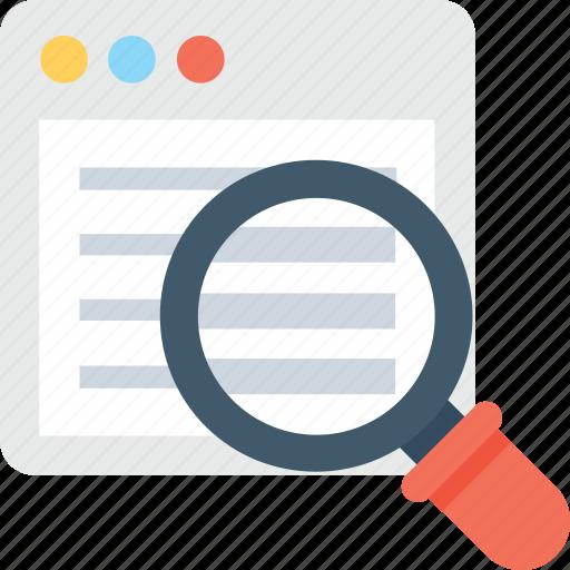 browser, internet explorer, magnifier, web page, web search icon
