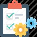 checklist, clipboard, cog, planning, schedule