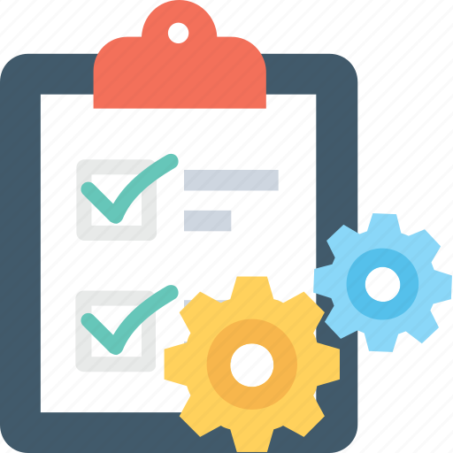 checklist, clipboard, cog, planning, schedule icon