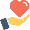 care, charity, donation, hand, heart icon