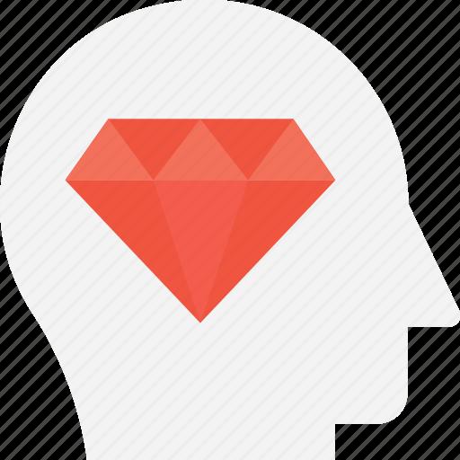 businessman, creative, diamond, head, jewel icon