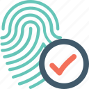 biometric, fingerprint, inspection, investigation, security icon