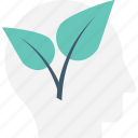 head, leaf, mind, nature, think green icon
