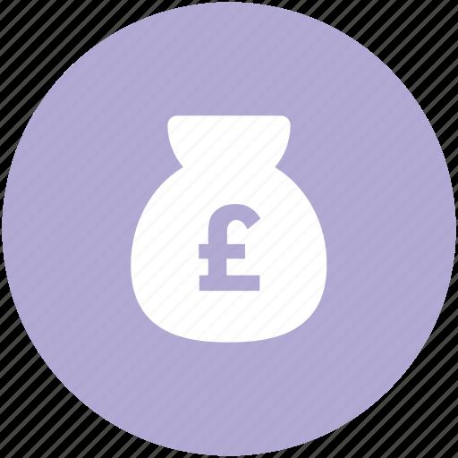 british pound, cash, cash bag, money sack, pound currency, pound sack icon