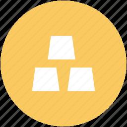 blocks, cubes, gold, gold bar, gold biscuits, gold bricks, gold ingot icon