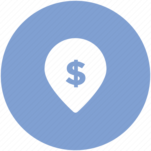 bank, bank location, dollar sign, gps, location, map pin, navigation icon