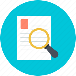 document, magnifier, paper searching, searching document, text searching icon