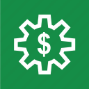 dollar, gear, sign, work, working icon