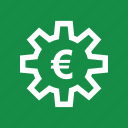currency, euro, gear, money, sign, work icon