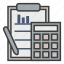 accounting, business, calculate, calculator, clipboard, compute, math icon