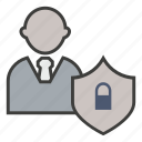 business, lock, protect, secured, security, shield icon