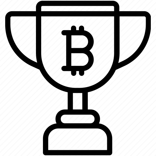 bitcoin, prize, trophy, winner icon