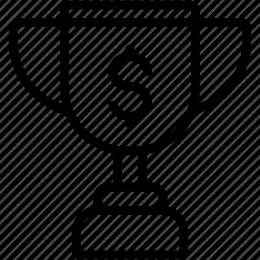 dollar, prize, trophy, winner icon