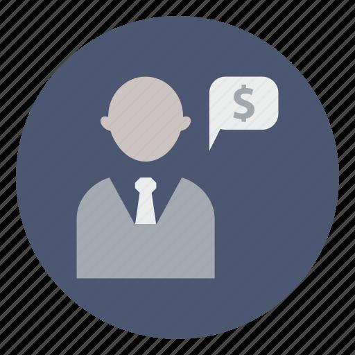 bank, banker, business, businessman, clerk, finance, investor icon