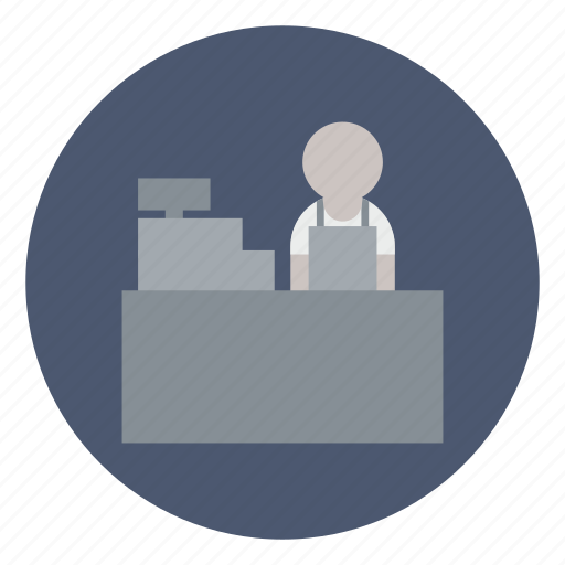 business, cashier, clerk, counter, pay, register, shopping icon