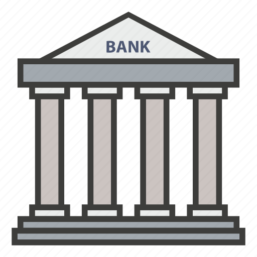 bank, banking, building, business, commercial, finance, investment icon