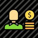 dollar, monetizecoints, money, value icon