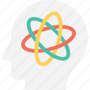 atom, brain, head, mind, science icon