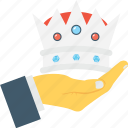 crown, hand, premium, royal, royalty icon