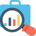 analysis, analytics, briefcase, magnifier, market research icon