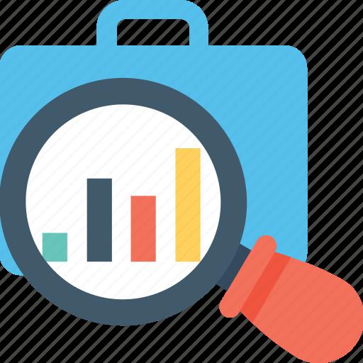 analysis, analytics, briefcase, magnifier, market research icon