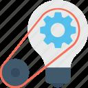 bulb, cog, creative, idea, solution