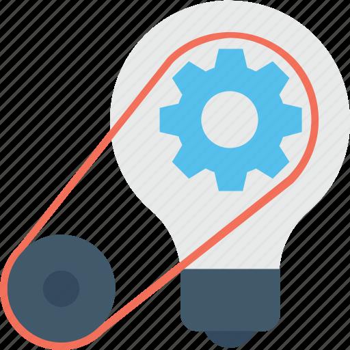 bulb, cog, creative, idea, solution icon